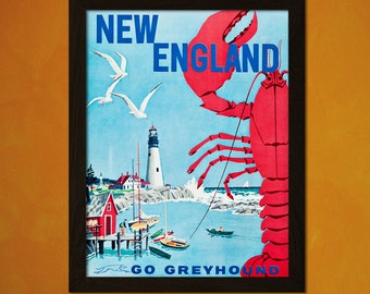 New England Travel Print 1960s - Vintage Travel Poster Tourism Wall Decor Poster Gift Idea New England Poster  t