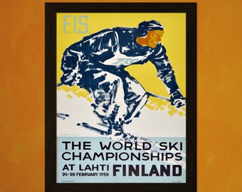 Finland Ski Travel Print 1938 - Vintage Travel Poster Ski Poster Tourism Wall Decor Poster Gift Idea Skiing Poster   Reproduction