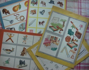 Vintage 1950s Children's Picture Boards, Set of 5 Teaching Boards, School Teacher's Aid, Educational Pictures, Mid Century Graphics ~