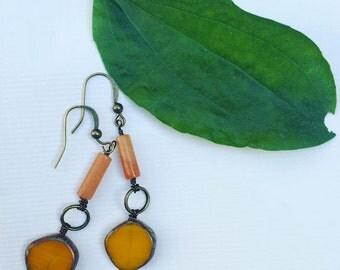 Orange Earrings--Czech Glass