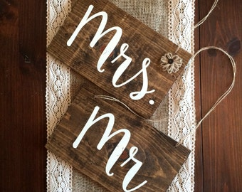 Mr. and Mrs. Signs,Mr. and Mrs. Decor,Wedding Signs,Wedding Decor,Wood Signs,Wood Decor,Chair Signs,Rustic Wedding Sign,Rustic Wedding Decor