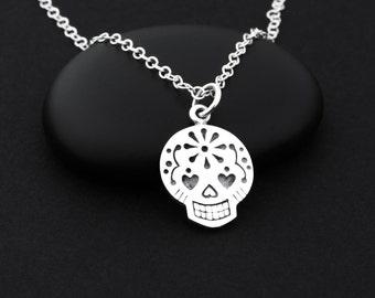 Sugar Skull Necklace, Sugar Skull Jewelry, Sterling Silver, Day of the Dead Necklace, Dia de Los Muertos Necklace, Day of the Dead Jewelry