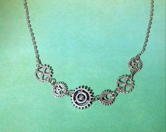 Steampunk Watch parts Charm Necklace, Cogs and Gears Necklace,Watch part Gift, Steampunk, Cogs, Gears, Necklace, Watch Parts, Charm Jewelry