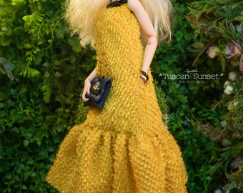 TUSCAN SUNSET  - Dress for 16'' Fashion Doll ( Numina, Kingdom Doll, Modsdoll, FR16, JamieShow, RDGs... )