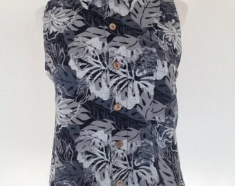 Reworked Puritan Leaf Print Sleeveless Crop Shirt - UK Size 8 - 10/US Size 4 - 6