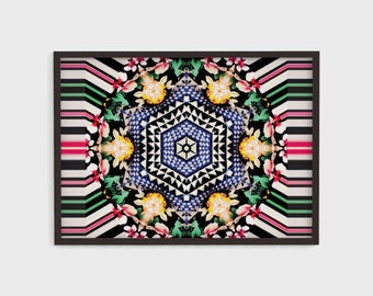 HEXAGON FLORAL Print, Kaleidoscope, Colorful, Bold, Pattern, Wall Art, Framed Art, Pink, Green, Yellow, Black, Blue, Instant Download.