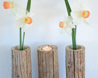 Vases and tea light holders-trio from driftwood, double function for flowers and candles