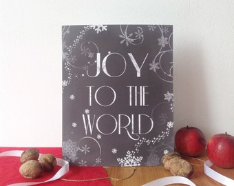 Joy to the World, Christmas print, chalkboard Christmas print, Christmas wall decor, 8x10, Chistmas modern print, wall art print, Joy print