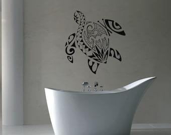 Wall Vinyl Sticker Decals Mural Room Design Pattern Art Bedroom turtle sea ocean water deep bathroom beautiful bo2632