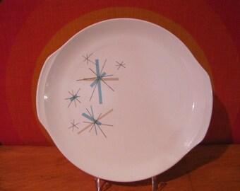 Vintage Salem North Star Serving Platter, Ovenproof Serving Platter with Handles, Serving Plate, Atomic Starburst, Mid Century Modern