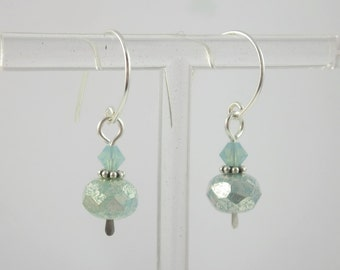 Sterling Silver and Pacific Opal Swarovski Crystal & Czech Glass Petite Dangle Earrings