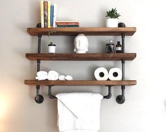 Industrial pipe shelf, Bathroom shelves, Kitchen shelves, Entryway shelf, Storage shelf, ReclaimedWoodUSA, bathroom shelf