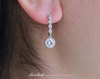 1.0 ct Center Dangling Hoop Earrings-Brilliant Cut Diamond Simulant-Bridal Earrings-Wedding Earrings-Elegant Earrings-Sterling Silver [8064]