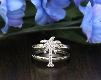 Palm Tree Promise Ring-Pave Set Diamond Simulants-2-Row Shank-Statement Ring-Anniversary Ring-Festival Ring-Sterling Silver [8119]