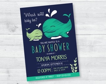 Whale Gender Reveal Baby Shower Invitation (green)