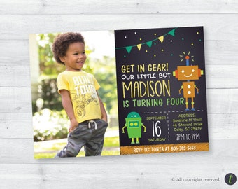 Robot Birthday Party Invitation with picture (boy)