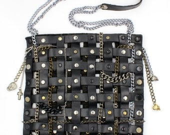 Leather,Chains and Charms Tote Bag