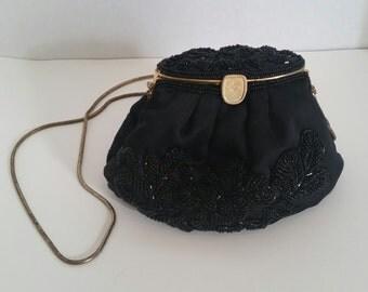 Vintage 1970's La Regale Ltd. Black Beaded Evening Purse with Gold Chain Handle