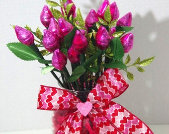 Valentine's Day - Pink Hershey Kiss Roses - Two Dozen