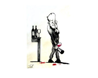 Shhhhhh! - For wine enthusiasts everywhere/ Old Fashioned Wine Advert/ 1920's/ Boozey Gift/ Original Wall Art/ A4