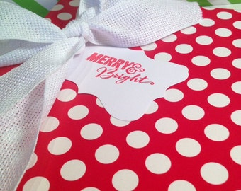 Merry and Bright Christmas Gift Tags/Wine Tags - Red and White - Set of 6