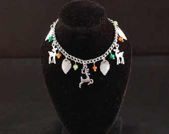 Green & Brown 'Into the Forest' Deer Charm Bracelet Gift for Her