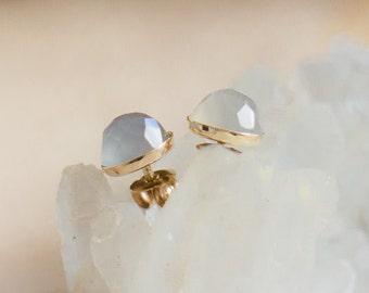 Grey Moonstone Stud Earrings in Gold, Rose Cut Moonstone Studs, Gray Ear Studs, Grey Gold Jewelry, Everyday Moonstone Earrings, Gift for Her