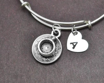 Teacup Bangle, Sterling Silver Bangle, Teacup Bracelet, Bridesmaid Gift, Personalized Bracelet, Initial Bracelet, Bridesmaid Gift, Charm