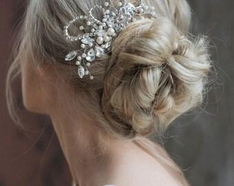 SALE- Bridal Headpiece, Wedding Rhinestones Hairpiece, Pearl Haircomb, Bridal Hair Comb, Wedding Hair Accessories -NEW COLLECTION