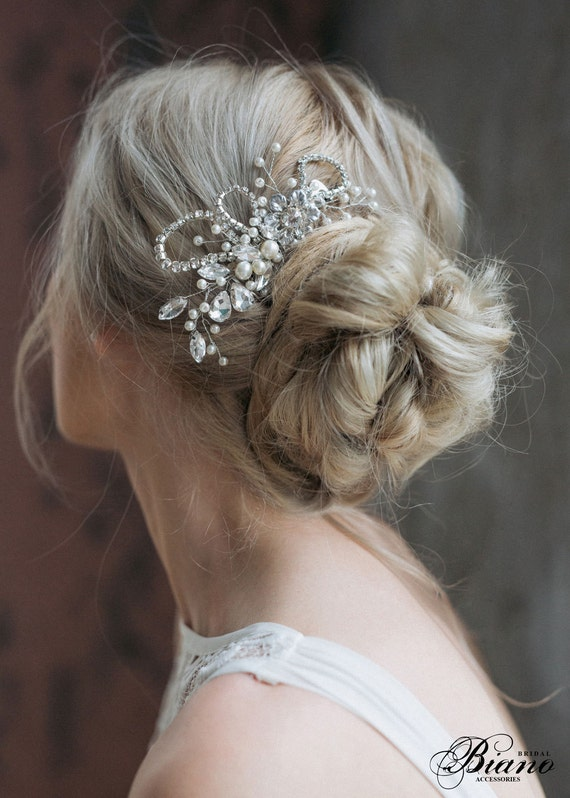 Bridal Headpiece, Wedding Rhinestones Hairpiece, Pearl Haircomb, Bridal Hair Comb, Wedding Hair Accessories