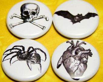 """Halloween Creepy Crawly 4 Pack - 1"""" Pin Back Buttons or Magnets"""