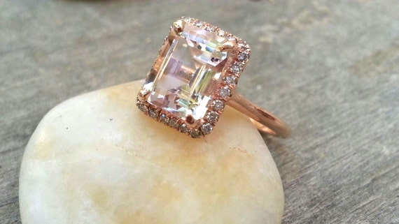 delicate gold engagement ring with morganite by