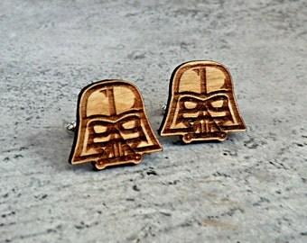 Star Wars Cufflinks Darth Vader Wooden Cufflinks Groomsmen gift ideas Star Wars gift Gifts for men Valentines gifts Groomsmen cufflinks