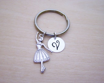 Ballerina Key Chain - Ballet Charm - Personalized Key Chain - Initial Key Chain - Custom Key Chain - Personalized Gift - Gift for Him / Her