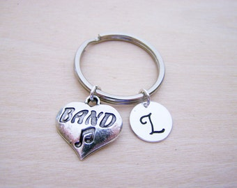 Band Music Key Chain Charm - Personalized Key Chain - Initial Key Chain - Custom Key Chain - Personalized Gift - Gift for Him / Her
