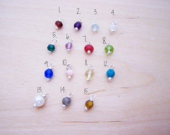 Add A Gemstone Birthstone Charm Dangle - Gemstone - Birthstone - Wire Wrapped Charm - Small Gemstone