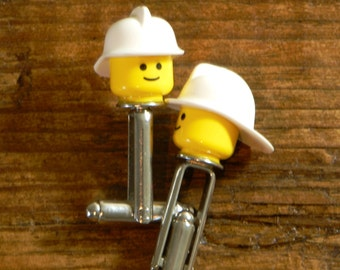 Firefighter Cufflinks - Lego Cufflinks With A Fire Fighter Helmet - White Hat With Original Minifigure Head - Collectable Item