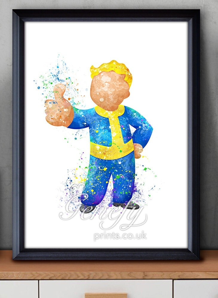 Fallout 4 vault boy watercolor art poster print wall decor for Fallout 4 decorations