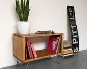 Stanton Small Record Player Stand  Vinyl Storage Cabinet  Console On Mid Century Hairpin Legs