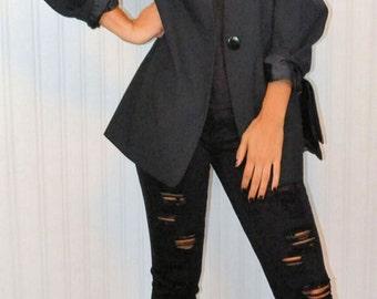 Vintage 90's Mod Black Blazer Oversize Boyfriend Blazer Goth Modern High Fashion Long Sleeve Women's Large Black Buttons
