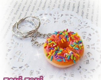 Pink Donut Halves Best Friend Keychain Polymer Clay Food Miniature Food Jewelry Donut Charms BFF Keychains Donut Keychain Food Jewelry