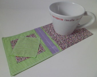 Mug Rug/ Snack Mat/ Coaster - Green/Purple/Floral - Cotton - Machine Washable - Gift Idea