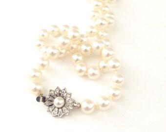 Vintage Single Strand Rhinestone Pearl Necklace