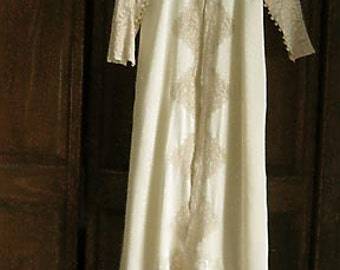 Silk Dressing Gown Robe, Victorian 1890s, Lace Collar Sleeves Bodice, FREE SHIPPING