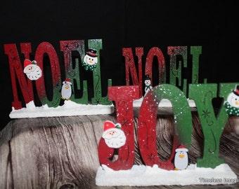 NOEL / JOY Wood Table Top Signs