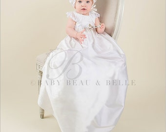 Christening Gowns, Leila White Silk Baptism Gown