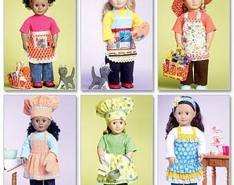 "Doll Aprons, 18"" AG doll pattern, McCall's 6451, gardening, hat, bag, bib apron, ruffles, half apron, chef hat, oven mitt, beret, cat UN-CUT"
