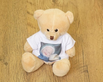Custom bear with photo on t-shirt > Personalised Teddy Bears > Custom Photo Teddy Bear > Custom T-Shirts for Bear > T shirt Plush teddy bear