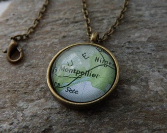 Vintage Bronze or Silver Pendant Necklace - Montpellier, France Old Map - Custom City, Country Jewelry - Personalized Location Gift