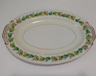 """Fuji China 12"""" Oval Platter Garland Pattern Japan"""